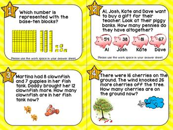 MATH REVIEW TASK CARDS- Second/Third Grade