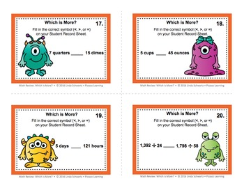 MATH REVIEW: WHICH IS MORE? TASK CARDS • GRADES 4–6