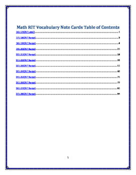 MATH RIT Vocabulary Note Cards