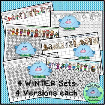 ROLL & GRAPH WINTER MATH CENTERS Addition & Subtraction Partner Math