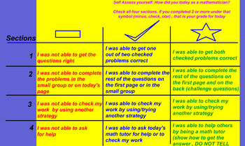 MATH RUBRIC for ALL lessons