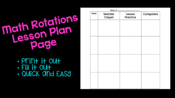MATH Rotations Lesson Plan Page!!