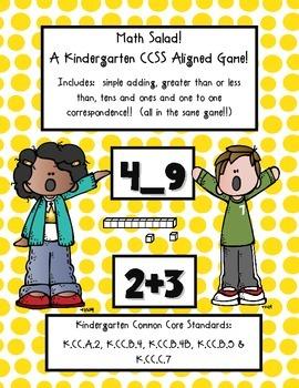 MATH SALAD!  A Kindergarten Math Common Core Aligned Game!
