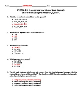 MATH SKILL Comparing Whole Numbers, Decimals, and Fractions Assessment