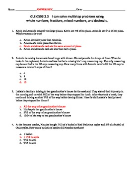 MATH SKILL Solving Multi-Step Story Problems Involving Fractions Assessment