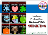 MATH STATIONS - Black and White - Common Core - Grade 2 ALL YEAR