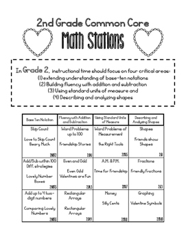 MATH STATIONS - Black and White - Grade 2 - FEBRUARY