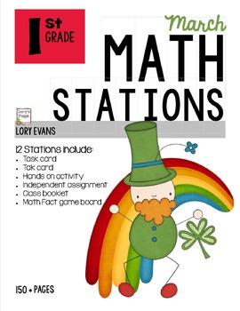 MATH STATIONS - Common Core - Grade 1 - MARCH