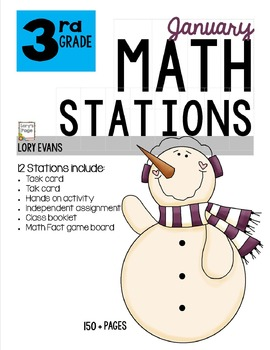 MATH STATIONS - Common Core - Grade 3 - JANUARY