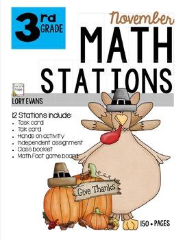 MATH STATIONS - Common Core -Grade 3 - NOVEMBER