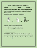 MATH STORY /ADDITION PRACTICE SHEETS- BUNDLE  PRE  K-1