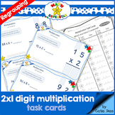 2 by 1 Digit Multiplication - TASK CARDS with regrouping