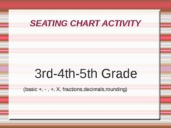 MATH Seating Chart Activity