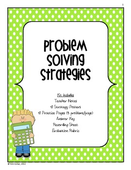 MATH Strategy Problem Solving Posters, Word Problems, and Evaluation Rubric