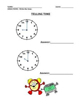 TIME:  TELLING TIME WORKSHEETS (GRADE 2)