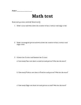 MATH TEST GEOMETRY 3D/2D Shape, Nets, Angles