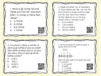 MATH TEST PREP: Measurement and Data Review Task Cards {Milestones}