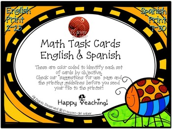 MATH Task Cards K-2 - DUAL immersion friendly