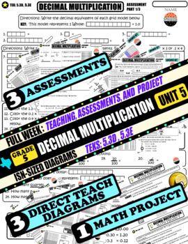 MATH UNIT 5 DECIMAL MULTIPLICATION: FULL WEEK of TEACHING, ASSESSMENTS, &PROJECT