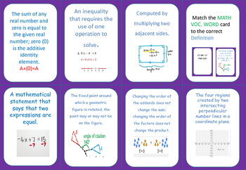 Grade 6 MATH VOCABULARY- MATCHING Term/Definition Sort -SET 1