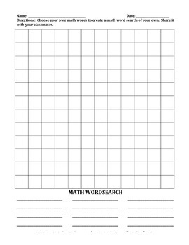 MATH WORD SEARCH AND ANSWER KEY  (Grades 4-6)