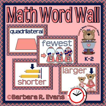 MATH WORD WALL: Coral & Navy Edition