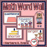 MATH WORD WALL Math Vocabulary Focus Wall Coral Navy Theme Classroom Decor