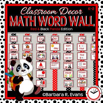 MATH WORD WALL: Red & Black Decor, Panda Theme, CCSS Math, Splash Math
