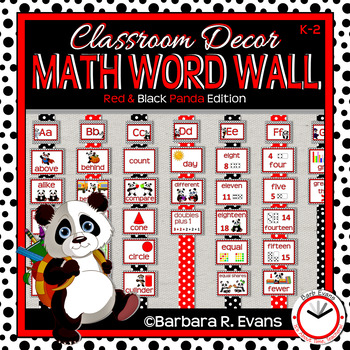 MATH WORD WALL: Red & Black Edition. Panda Theme, Classroom Decor