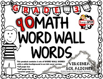 MATH WORD WALL WORDS Grade 3 Virginia SOL