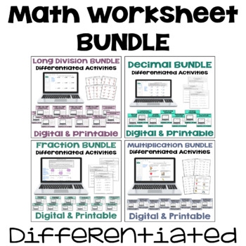 Math Worksheet Bundle - Perfect for Morning Work (Differentiated with 3 Levels)