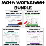 Math Worksheet Bundle with Decimals, Fractions, Long Divis