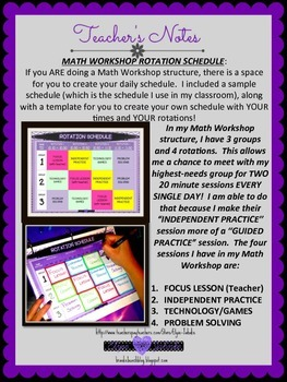 MATH WORKSHOP LESSON PLAN BOOK {4th GRADE MATH CCSS} *EDITABLE VERSION INCLUDED*