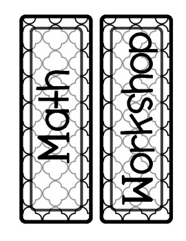 MATH WORKSHOP ROTATION BOARD {BLACKLINE DESIGN - INKSAVING OPTION}