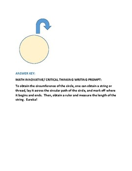 MATH WRITING PROMPT: FIND THE CIRCUMFERENCE!
