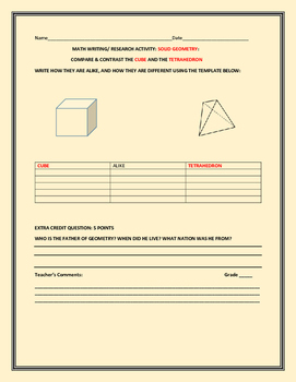 MATH WRITING/RESEARCH PROJECT: COMPARE CUBE & TETRAHEDRON