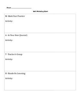 MATH Workshop Accountability Form