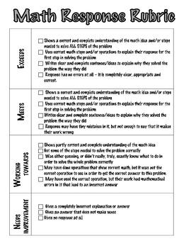 MATH Written Response Rubric