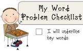 MATH common core- My Math Workshop Word Problem Checklist