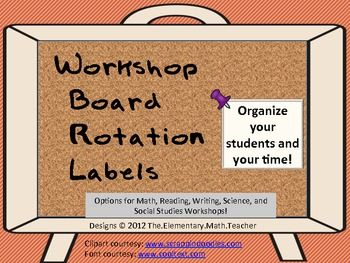 """MATH common core and beyond- Creative """"Math Workshop"""" board rotation labels"""