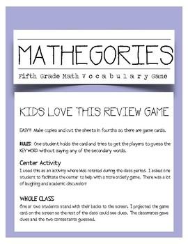 MATHEGORIES: Fifth Grade Math Vocabulary Game