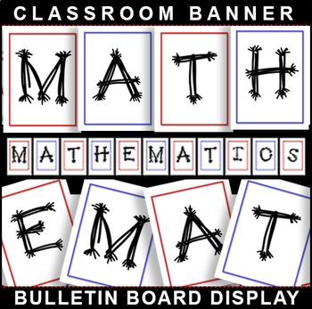 #1 Back-To-School! MATHEMATICS Bulletin Board Display for Classroom Signage!