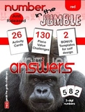 """MATHEMATICS: PLACE VALUE; """"Number in the Jumble"""" 3 digit numbers Answers Pack"""