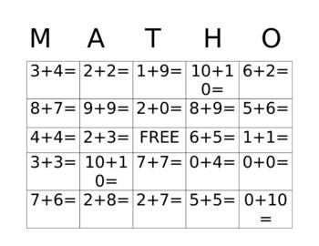 MATHO (Bingo) with Math Facts