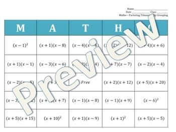 MATHO - Factoring Trinomials by Grouping