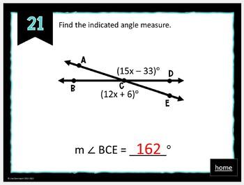 MATHO (Math Bingo)- Angles & Angle Relationships