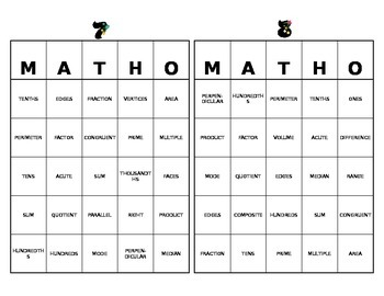 MATHO- Math Bingo C