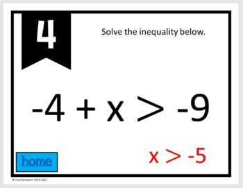 MATHO (Math Bingo)- Graphing & Solving Inequalities