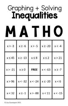 MATHO (Math Bingo)- Graphing & Solving Inequalities