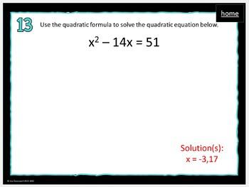 MATHO (Math Bingo)- Quadratics